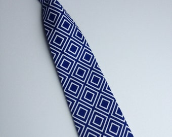 Boys Neck Tie, Infant Velcro Tie, Toddler Neck Tie, Royal Blue Tie Neck Tie