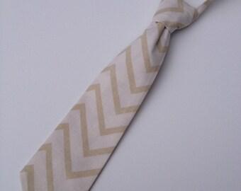 Toddler Neck Tie, Boys Neck Tie, Infant Neck Tie, Chervon Neck Tie, Cream Neck Tie