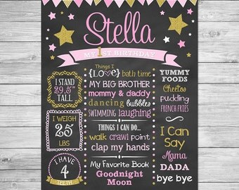 First Birthday Chalkboard Printable,  Twinkle Twinkle Little Star Birthday, First Birthday Chalkboard Sign, Birthday Chalkboard, Star