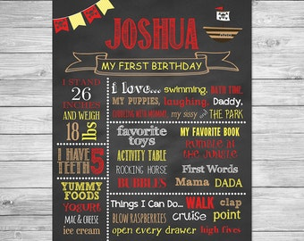 First Birthday Chalkboard of Favorite Things Poster - Pirate Birthday Chalkboard Sign - Pirate Birthday