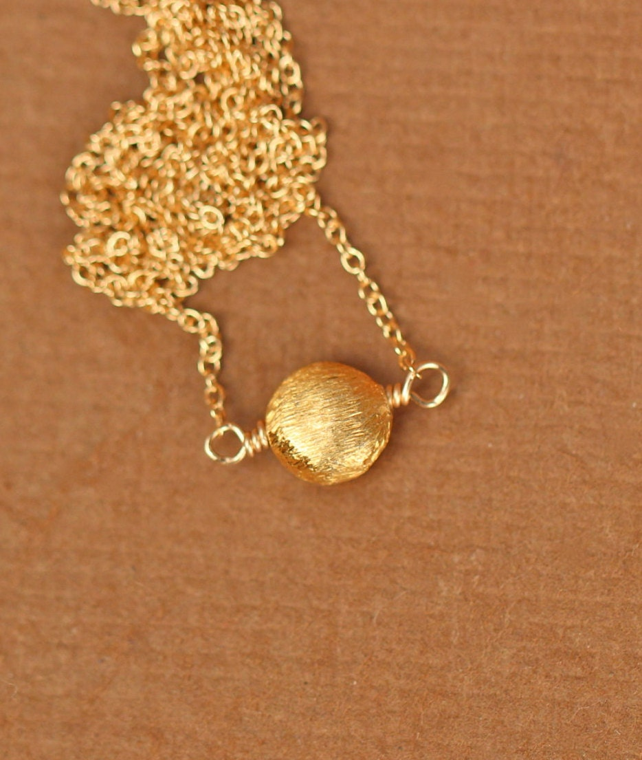 gold dot necklace gold disc necklace circle necklace by