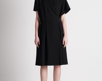 30% Season Off_Summer Cool Wool Crepe Wrap Dress_Black