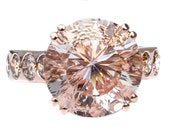 Rare 9 ct. Pink Danburite & Diamond Designer 14K Rose Gold Ring