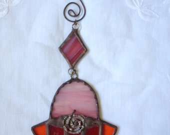 HANDMADE Mini HAMSA HAND Orange,Red and Pink Color with Beads.Stained Glass Wall Hanging,Original Art Decor,Ethnic Tiffany Glass,Unique Gift