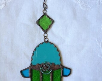 HANDMADE Mini HAMSA HAND Green and Turquoise Color with Beads.Stained Glass,Wall Hanging,Original Art Decor,Ethnic Tiffany Glass Unique Gift