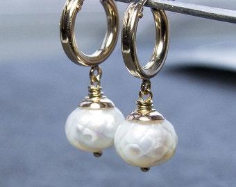 Ready to Ship: Baroque Pearl Earrings. Hoop Earrings. White Pearl Earrings. Gold Earrings. Silver Earrings. June Birthstone