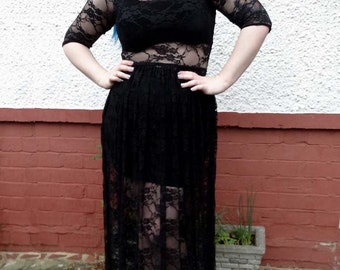 Ethereal - reversible black lace maxi dress with full, gathered skirt, witchy, gothic