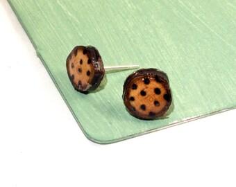 Polka Dot Earrings, Polka Dot Stud Earrings, Polka Dot Studs, Wooden Studs, Wood Burned Studs, Wood Burned Jewelry, Wooden Jewelry