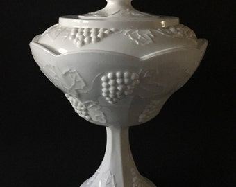 Vintage Colony Harvest White Milk Glass Pedestal Compote with Lid-Indiana Glass