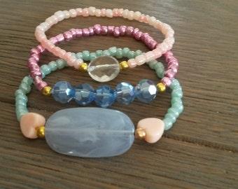 Cute set of 3 bracelets summer bracelets pink bracelets peach bracelets green bracelet