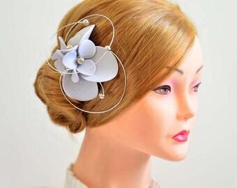 Silver hair pin Silver fascinator Bridesmaid hair flower Silver headpiece Bridal hair piece Flower girl headpiece