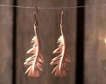 Rose Gold Feather Earrings Feather Dangle Earrings Rose Gold plated Sterling Silver Statement Earrings statement jewelry boho earrings