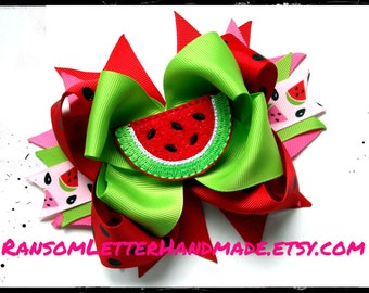 Big Watermelon Hair Bow Red Green Water Melon Bow Ribbon Made to Match Watermelon  Dress and Outfit