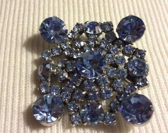 "Baby Blue Rhinestone Brooch Square 1 5/8"""