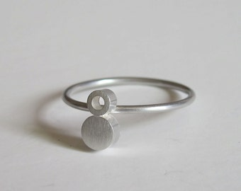 Margery Ring - Modern Circle Ring, Modern Geometric Ring, Stacked Ring. Sterling Silver Stacking Ring, Simple Modern Ring, Two Circle Ring