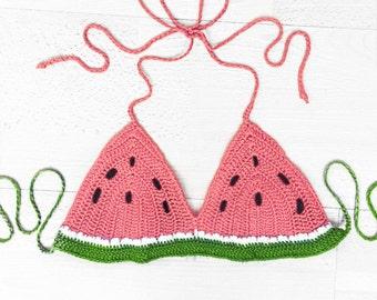 Watermelon Halter Crop Top - watermelon bikini - bra - fruit clothing - Bikini Hippie - Crochet Watermelon Bikini Top - Womens Swimsuit