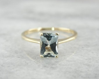 Aquamarine Solitaire With Thin Band, Narrow Setting 7PHX9R-D