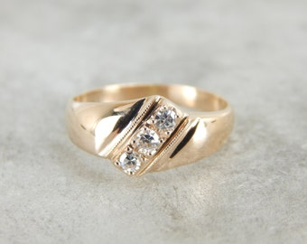 Vintage Three Diamond and Rose Gold Band 4JZ7KY-P