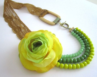 Flower Necklace Green Jewelry Vintage Necklace Statement Necklace Multi Strand Necklace Floral Fashion Yellow Flower Necklace FREE SHIPPING