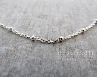 Sterling Silver Layering Chain, Saturn Cable Chain, Beaded, Layering
