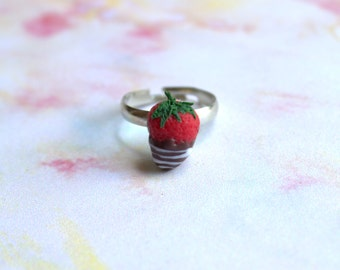 Miniature food ring, miniature strawberry, polymer clay chevalier ring, kawaii ring for her
