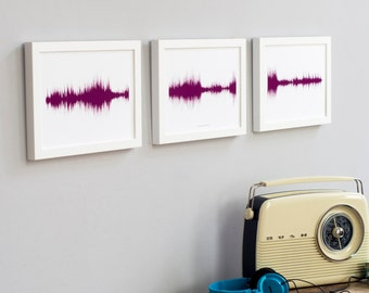 THREE SOUND PRINTS Personalised Song Voice Wave Wall Art Anniversary Wedding Child Secret Message Fathers Day Trio New Baby Triplets Gift Uk