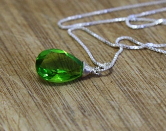 Parrot Lime Green Peridot Wire Wrapped Pendant in Solid Sterling Silver , August Birthstone , Wedding , Bridal , From Canada