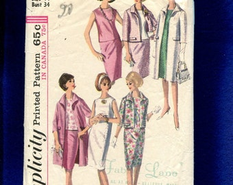 1960's Simplicity 5835 Summer Time Retro Wardrobe with Shift Skirt  Jacket & Coat Size 14