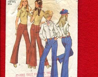 1970's Simplicity 9517 Bell Bottom Hip Huggers Size 10