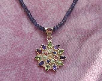Iolite Necklace, Sunburst Pendant, Sterling Silver Gemstone Pendant, Starburst Necklace, Faceted Blue Gemstones, Violet Gemstones, Starburst
