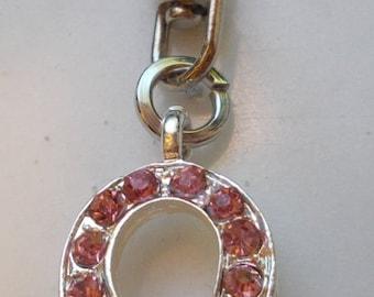 breast cancer pink rhinestone purse charm key ring