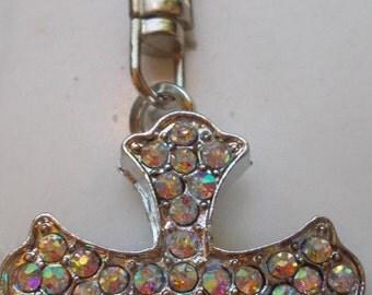 large ab coated rhinestone cross key chain purse charm