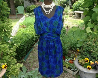 1960s Vintage Dress Blue Sculptural Goddess by Kay Martin Chicago