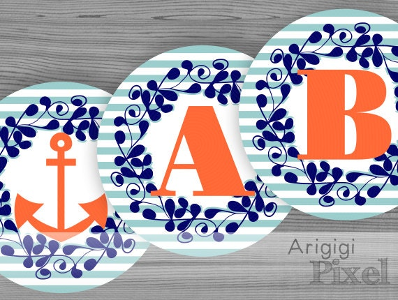 Nautical banner letters & numbers - alphabet circles blue striped  - PDF file