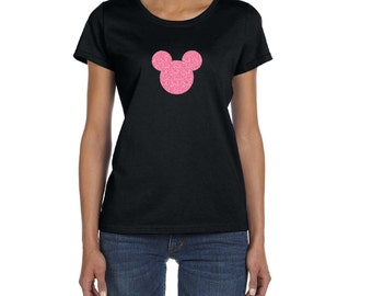 WOMENS GLITTER Mickey Shirt Disney Trip Vacation Birthday Shirts Plus Size Disney Shirts