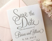 The Hydrangea Suite - Letterpress Wedding Save the Date - Grey, White, Blush, Pink, Modern, Traditional, Simple, Invitation, Classic, Script