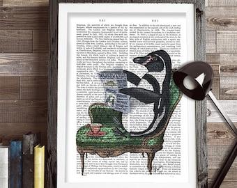 Penguin print - PENGUIN & NEWSPAPER penguin décor penguin gift penguin wall art cute penguin penguin poster penguin illustration Penguin art