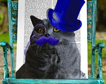 British Shorthair Cat Art Print - British Blue Top Hat - cat poster cat decor cat illustration gift cat lover geekery décor dorm room decor