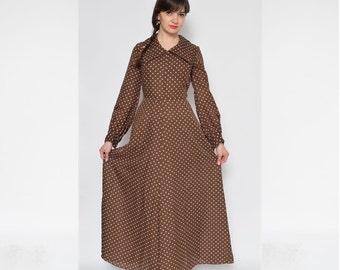 Vintage 70's Polka Dot Brown Maxi Dress