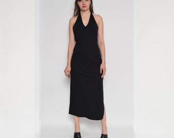 Vintage 90's  Black Halter Backless Maxi Dress