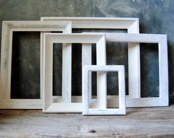 Wood Picture Frames: Set Of Five Distressed Painted White Frames, Vintage Cottage Chic Frames