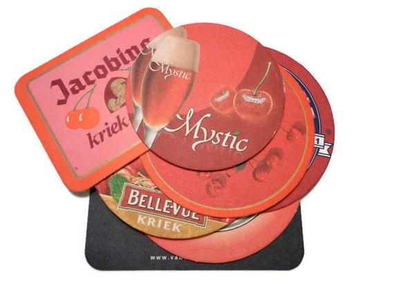 Vintage belgian beer coaster cardboard fruit beer mat - Cardboard beer coasters ...