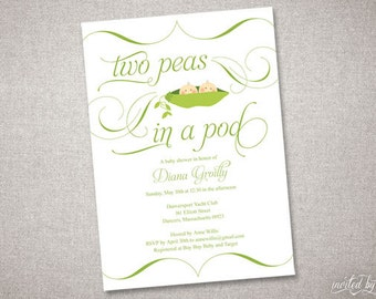 Beautiful Peas In A Pod Personalized Baby Shower Invitation - DIY Digital Printable or Printed Invite