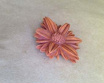 Vintage Carved Wood Flower Pendant
