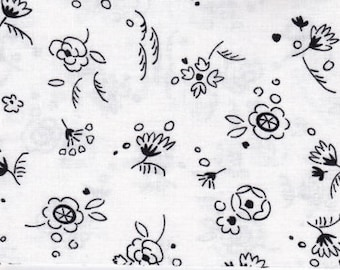 Black and White Fabric Flower Doodle by Timeless Treasures of SoHo  -1799- 100% High Quality Cotton Yardage