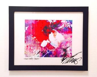 Original Framed Print: Flower Graffiti, Pansies