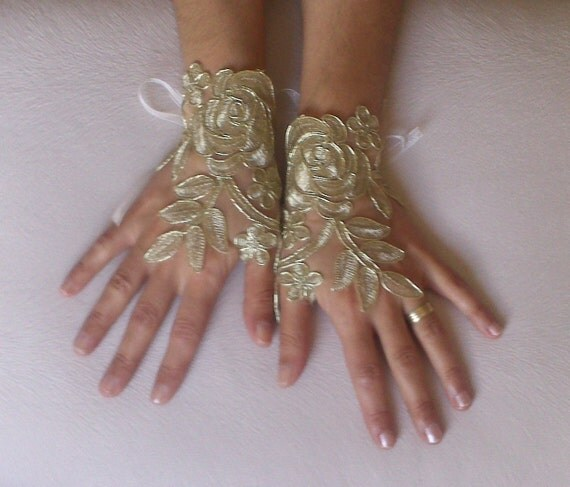 Gold Wedding gloves free ship bridal gloves  fingerless lace  gloves french lace gloves gauntlets guantes bohemian gold