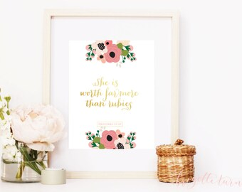 Girl Bible Verse Wall Art Print | She is worth far more than rubies. | Proverbs 31:10