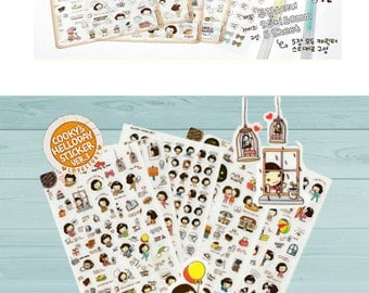 5 sheets - Helloday Girl Sticker Set--ver.3 - Cute Cooky Girl, Scrapbooking, diary stickers, planner stickers, pvc stickers