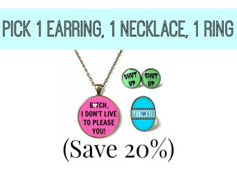 Pick any 1 necklace, 1 pair of earrings, and 1 ring & save 20%! - Pack of 3 pieces of Snark Factory jewelry!